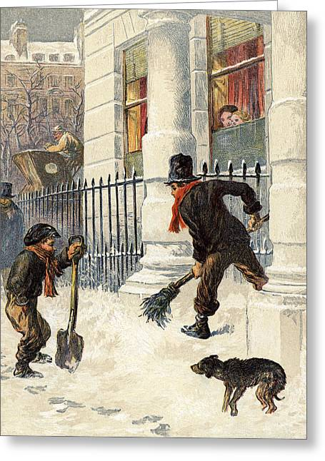 The Snow Sweepers Greeting Card by English School