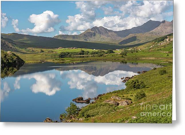 The Snowdon Horseshoe Greeting Card by Adrian Evans