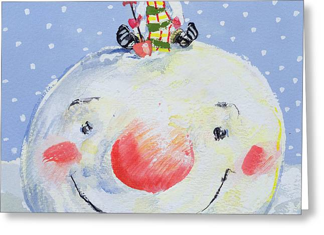The Snowman's Head Greeting Card by David Cooke