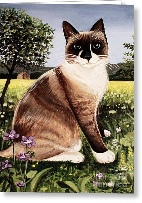Greeting Card featuring the painting The Snowshoe Cat by Elizabeth Robinette Tyndall
