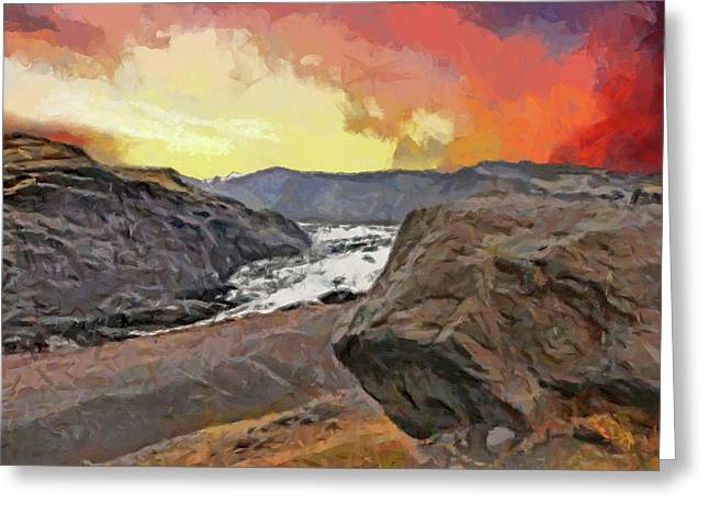 Greeting Card featuring the digital art The Solheimajokull Glacier by Digital Photographic Arts
