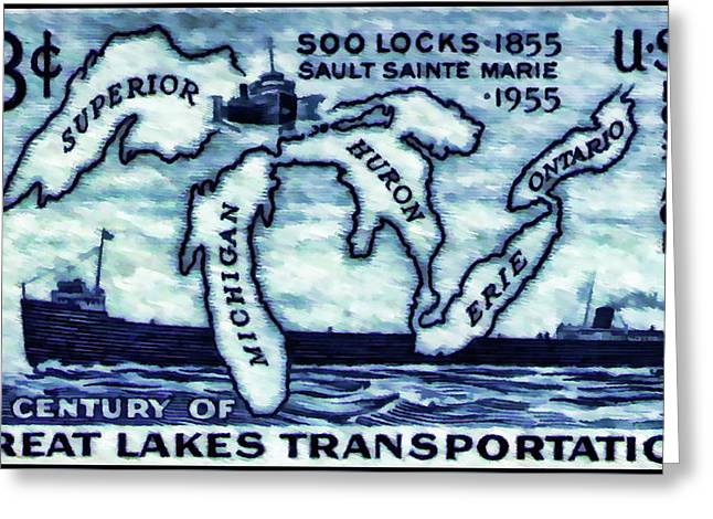 The Soo Locks Stamp Greeting Card