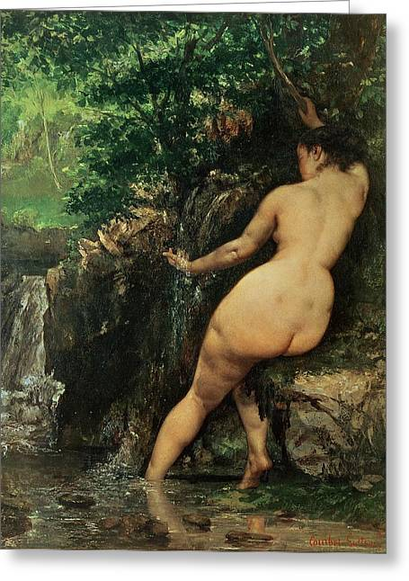 Bare Trees Greeting Cards - The Source or Bather at the Source Greeting Card by Gustave Courbet