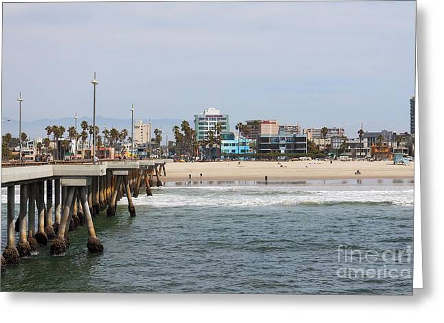 The South View Venice Beach Pier Greeting Card