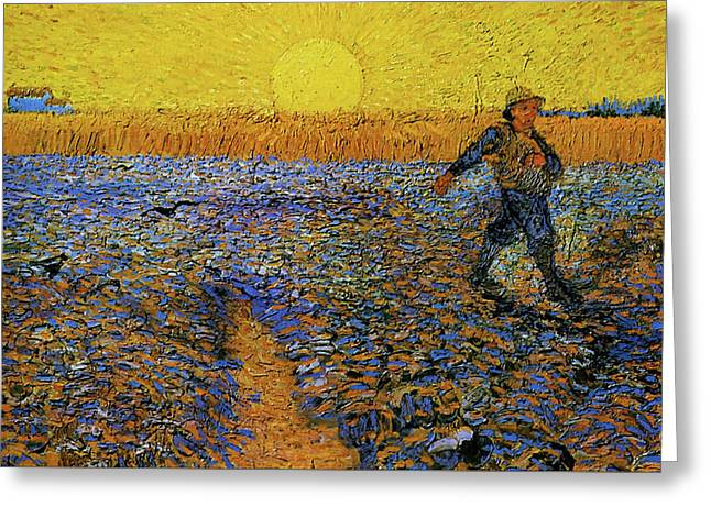 Greeting Card featuring the painting The Sower by Van Gogh