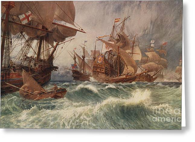 The Spanish Armada Greeting Card by English School