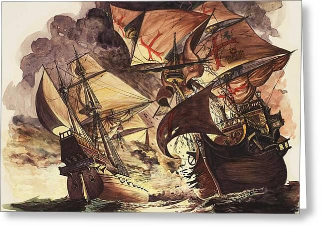 The Spanish Armada Greeting Card by Peter Jackson