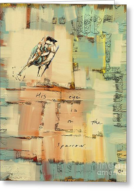 The Sparrow Greeting Card by Carrie Joy Byrnes