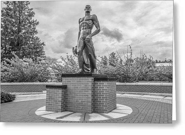The Spartan Statue Black And White  Greeting Card