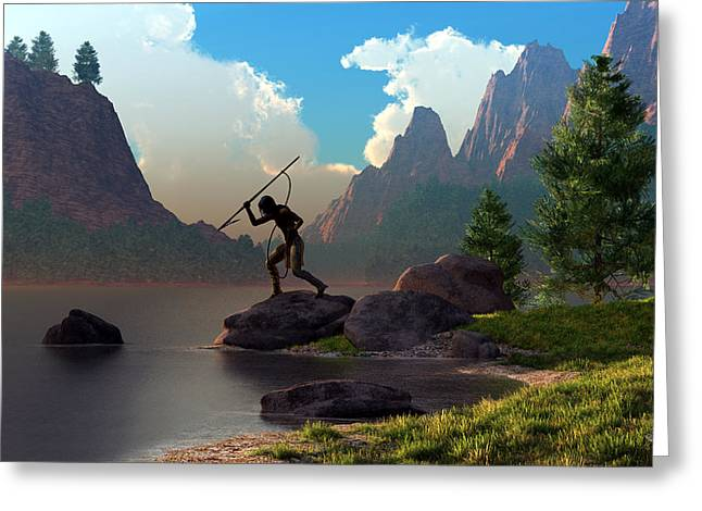 Greeting Card featuring the digital art The Spear Fisher by Daniel Eskridge