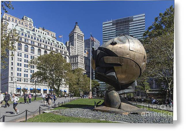 Greeting Card featuring the photograph The Sphere Batterie Park Nyc by Juergen Held