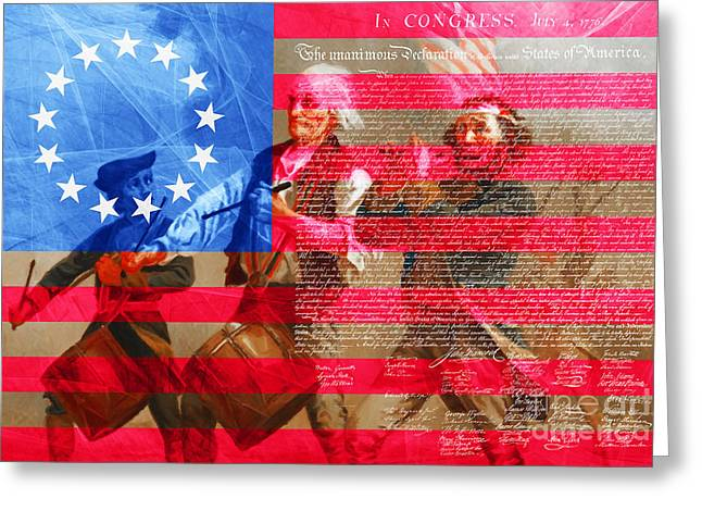 The Spirit Of 76 The American Flag And The Declaration Of Independence 20150704 Greeting Card by Wingsdomain Art and Photography