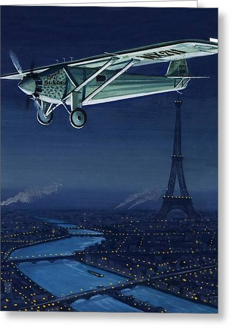 The Spirit Of St Louis Flying Over Paris Greeting Card by English School