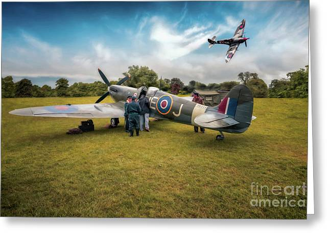 The Spitfire Parade Greeting Card by Adrian Evans