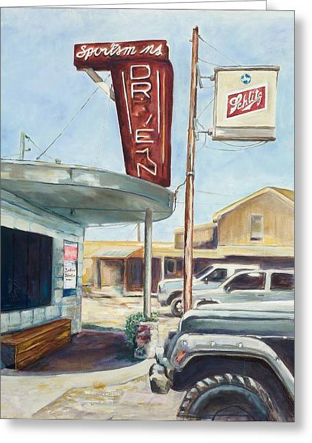The Sportsman's Drive-in Greeting Card by Tansill Stough