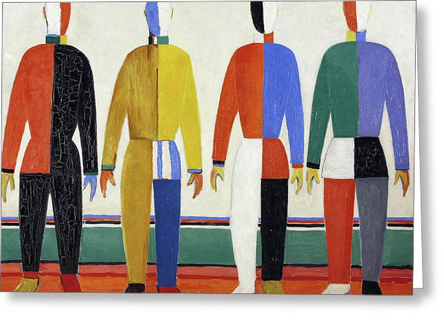 The Sportsmen Greeting Card by Kazimir Malevich