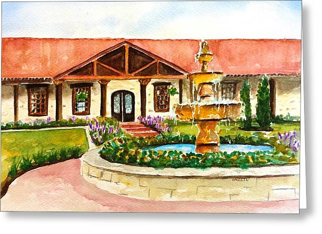 Greeting Card featuring the painting The Springs Houston by Carlin Blahnik CarlinArtWatercolor