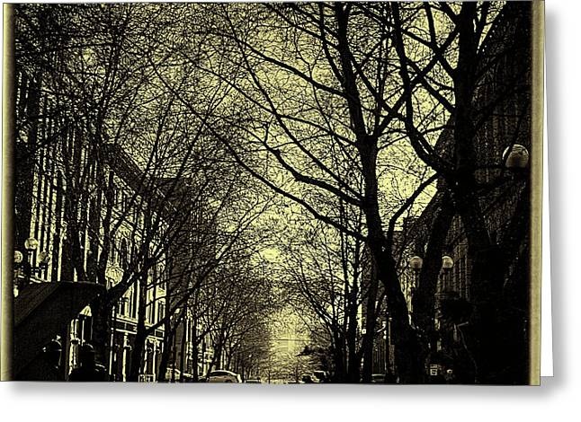 Pioneer Square Seattle Greeting Cards - The Square at Dusk Greeting Card by David Patterson
