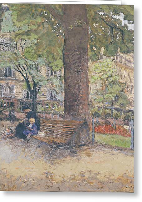 Caring Mother Paintings Greeting Cards - The Square at Vintimille Greeting Card by Edouard Vuillard