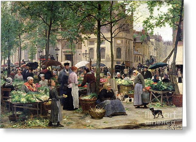 Farmers Markets Greeting Cards - The Square in front of Les Halles Greeting Card by Victor Gabriel Gilbert