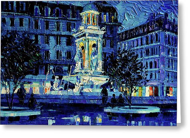 The Square Of Jacobins Illuminated - Lyon France - Modern Impressionist Palette Knife Painting Greeting Card