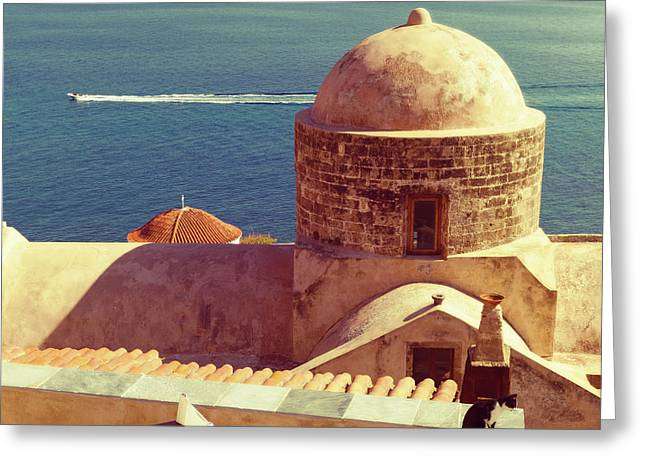 Greek Architecture In The Medieval Town Of Monemvasia, Greece Greeting Card