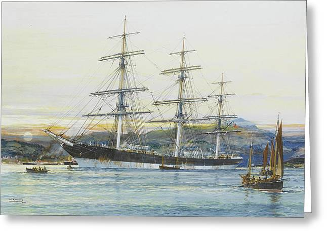 The Square-rigged Australian Clipper Old Kensington Lying On Her Mooring Greeting Card by Jack Spurling