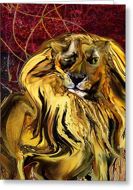 The Squinting Lion Greeting Card by Anne Weirich