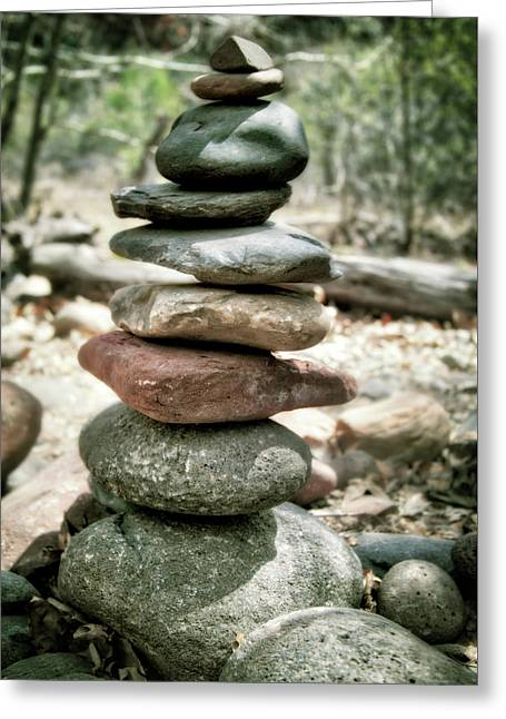 The Stack - Rock Cairn At Buddha Beach - Sedona Greeting Card by Jennifer Rondinelli Reilly - Fine Art Photography