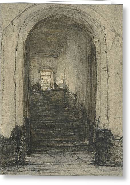 The Stairs In The Prinsenhof In Delft, Where In 1584 Prince William I Was Murdered  Greeting Card by Johannes Bosboom