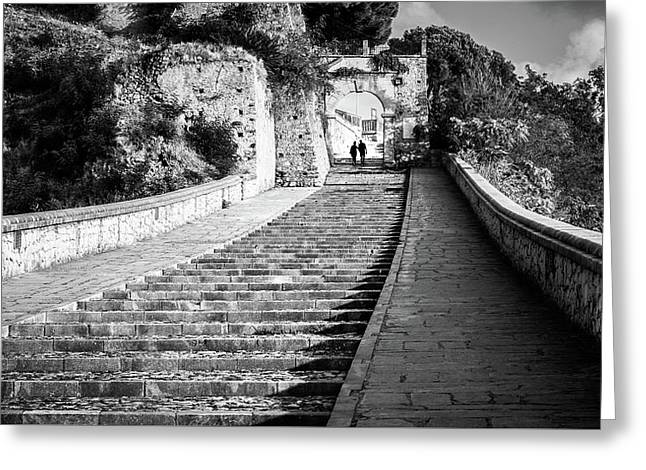 The Stairs - Paola, Italy - Black And White Street Photography Greeting Card by Giuseppe Milo