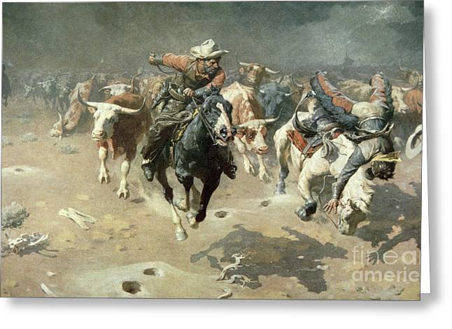 The Stampede, 1912 Greeting Card