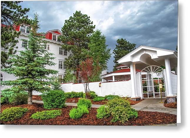 The Stanley Hotel Entrance - Estes Park Colorado Greeting Card by Gregory Ballos