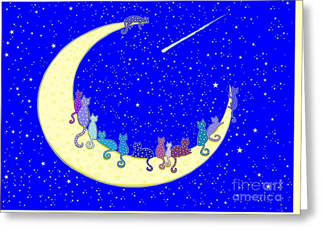 The Star Cats Greeting Card by Nick Gustafson