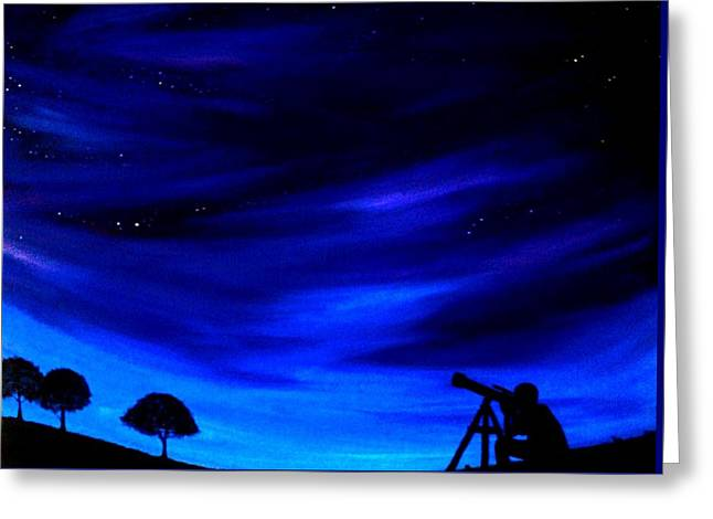 The Star Gazer Greeting Card by Scott Wilmot