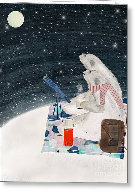 Greeting Card featuring the painting The Stargazers by Bri B