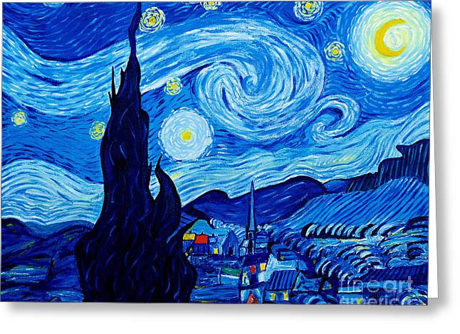 The Starry Night - Tribute To Van Gogh Greeting Card by Art by Danielle