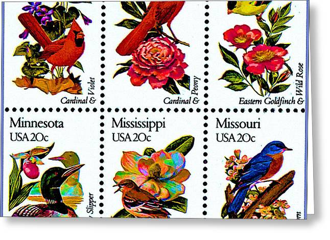 The State Birds And Flowers Stamps Greeting Card
