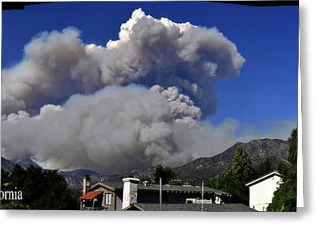 The Station Fire Panoramic Greeting Card by Clayton Bruster