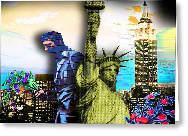 The Statue Of Liberty And A Banksy Pass In The Night Greeting Card by Tony Rubino