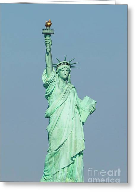 The Statue Of Liberty On Liberty Island In New York Harbor Greeting Card
