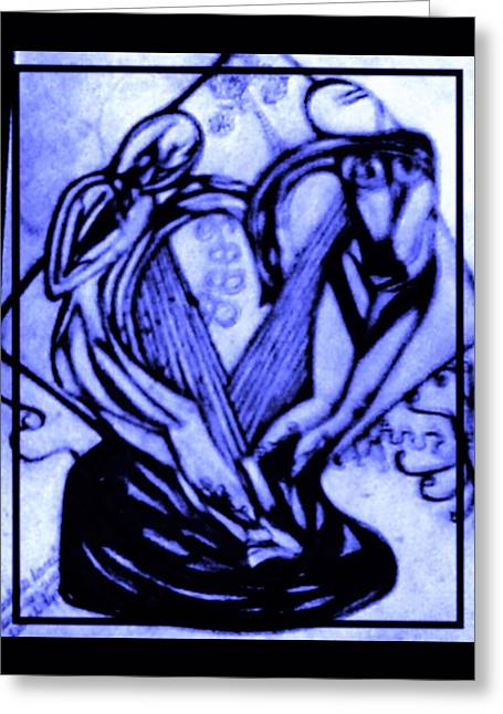 The Statue Sketch In Blue Greeting Card