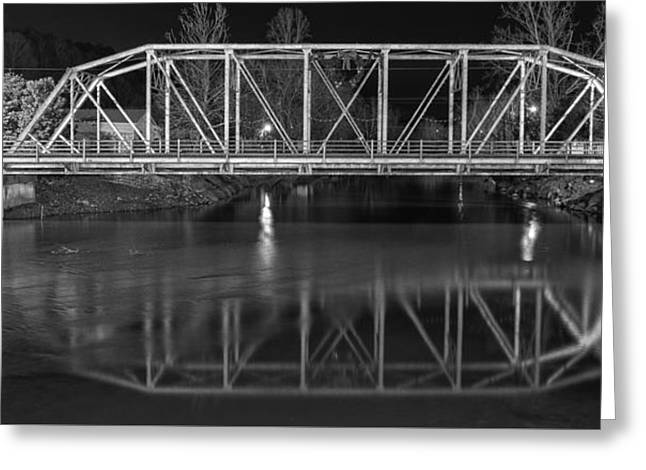 The Steel Bridge In Black And White Greeting Card