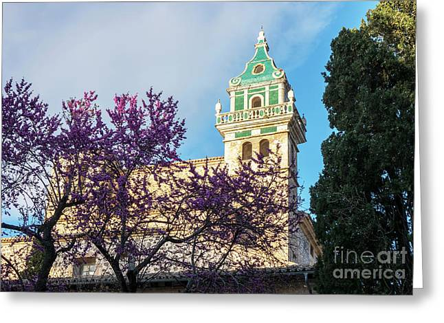 The Steeple Of The Valldemossa Charterhouse In Spring Greeting Card by Kenneth Lempert