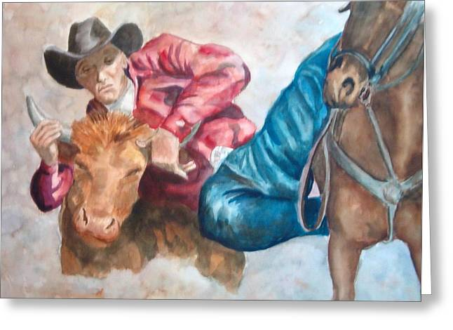 The Steer Wrestler Greeting Card