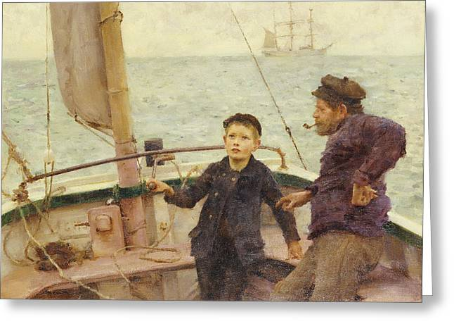 Henry Greeting Cards - The Steering Lesson Greeting Card by Henry Scott Tuke