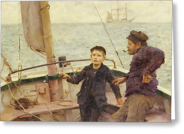 The Steering Lesson Greeting Card by Henry Scott Tuke