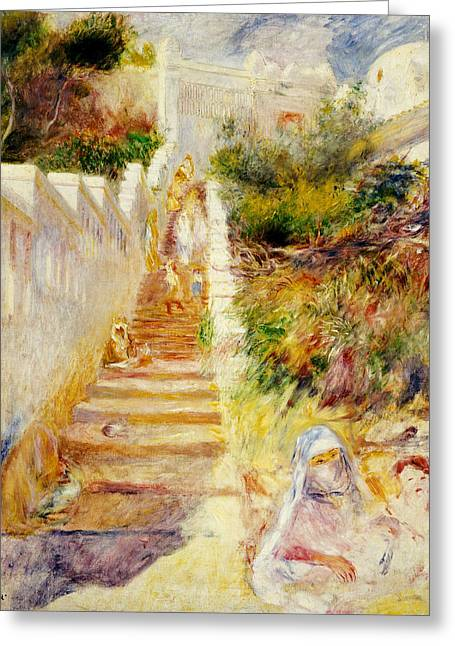 The Steps In Algiers Greeting Card by Pierre Auguste Renoir
