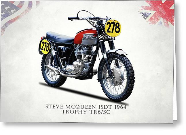 The Steve Mcqueen Isdt Motorcycle 1964 Greeting Card by Mark Rogan