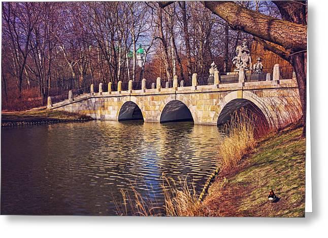 The Stone Bridge In Lazienki Park Warsaw  Greeting Card
